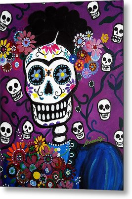 Metal Print featuring the painting Frida Dia De Los Muertos by Pristine Cartera Turkus