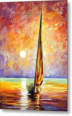 Gold Sail Metal Print by Leonid Afremov