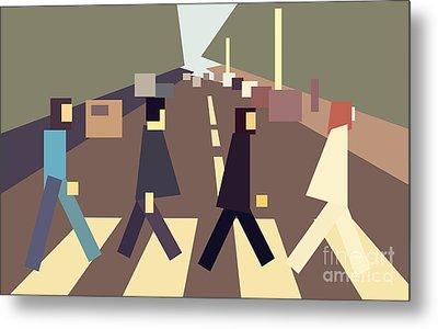 4 Guys Crossing Abbey Road Metal Print