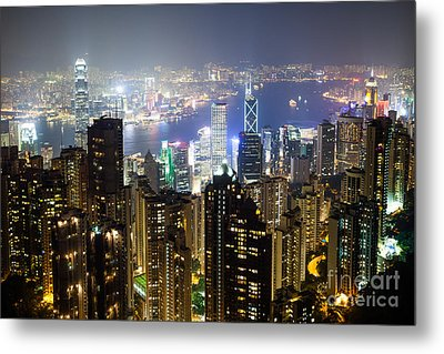 Hong Kong Harbor From Victoria Peak At Night Metal Print by Matteo Colombo