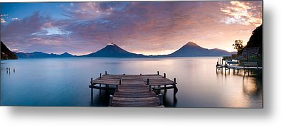 Jetty In A Lake With A Mountain Range Metal Print by Panoramic Images