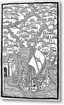 Landing Of Columbus, 1492 Metal Print by Granger
