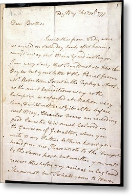 Letter Of Lord Nelson Metal Print by British Library