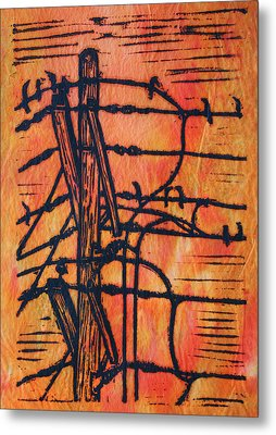 Lines And Birds Metal Print by William Cauthern