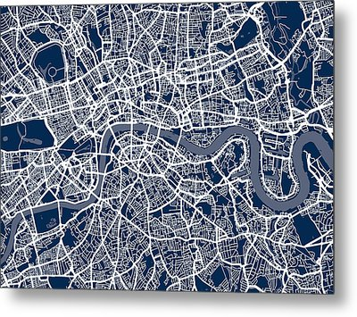 London England Street Map Metal Print by Michael Tompsett