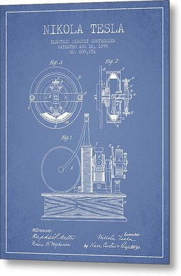 Nikola Tesla Electric Circuit Controller Patent Drawing From 189 Metal Print by Aged Pixel