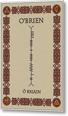 Metal Print featuring the digital art O'brien Written In Ogham by Ireland Calling