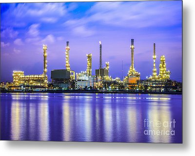 Oil Refinery Plant Metal Print