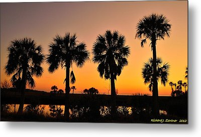 4 Palms In After Glow Metal Print