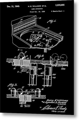 Pinball Machine Patent 1939 - Black Metal Print by Stephen Younts