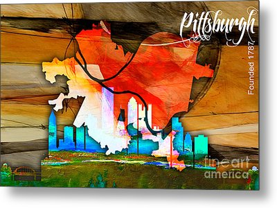 Pittsburgh Map And Skyline Watercolor Metal Print by Marvin Blaine