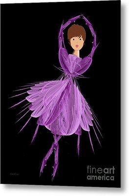 4 Purple Ballerina Metal Print by Andee Design
