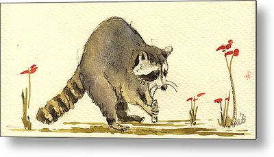 Raccoon  Metal Print by Juan  Bosco