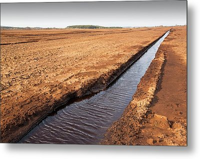 Raised Bog Being Harvested For Peat Metal Print by Ashley Cooper