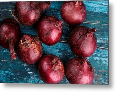 Red Onions Metal Print by Nailia Schwarz