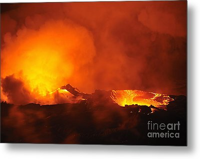 River Of Molten Lava Flowing To The Sea Metal Print