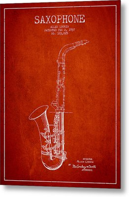 Saxophone Patent Drawing From 1937 - Red Metal Print by Aged Pixel