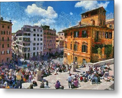 Spanish Steps At Piazza Di Spagna Metal Print by George Atsametakis