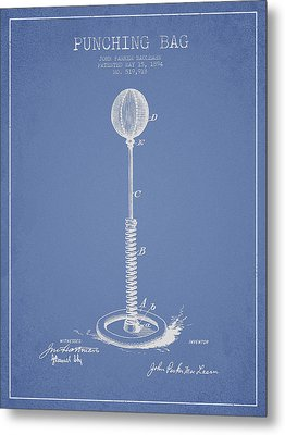 Striking Bag Patent Drawing From1894 Metal Print