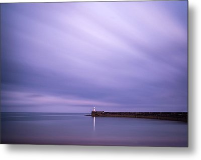 Stunning Long Exposure Landscape Lighthouse At Sunset With Calm  Metal Print by Matthew Gibson