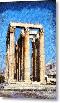 Temple Of Olympian Zeus  Metal Print by George Atsametakis