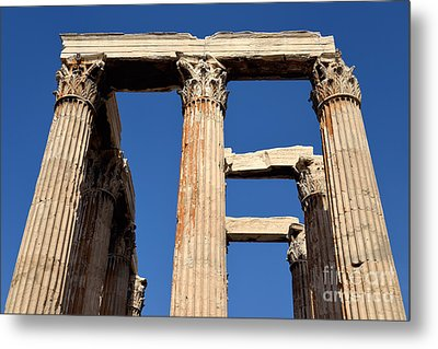 Temple Of Olympian Zeus In Athens Metal Print by George Atsametakis