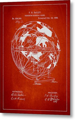 Terrestro Sidereal Globe Patent Drawing From 1886 Metal Print