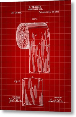 Toilet Paper Roll Patent 1891 - Red Metal Print by Stephen Younts