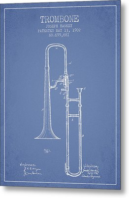Trombone Patent From 1902 - Light Blue Metal Print
