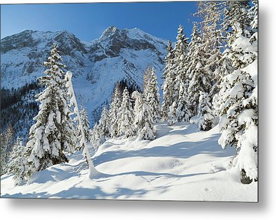 Valley Gaistal With Snow During Deep Metal Print by Martin Zwick