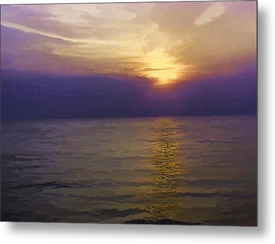 View Of Sunset Through Clouds Metal Print