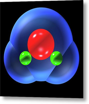 Water Molecule Metal Print by Russell Kightley
