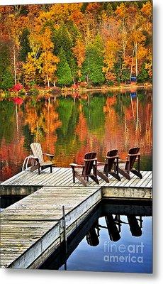 Wooden Dock On Autumn Lake Metal Print by Elena Elisseeva