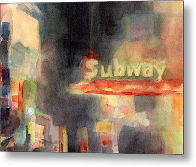 42nd Street Subway Watercolor Painting Of Nyc Metal Print by Beverly Brown