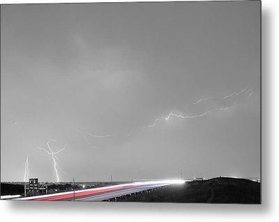 47 Street Lightning Storm Light Trails View Bwsc Metal Print by James BO  Insogna