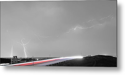 47 Street Lightning Storm Light Trails View Panorama Metal Print by James BO  Insogna
