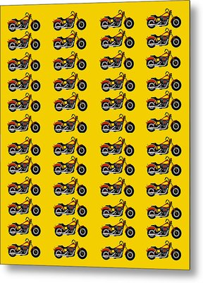 48 Harlies On Dark Yellow Metal Print by Asbjorn Lonvig