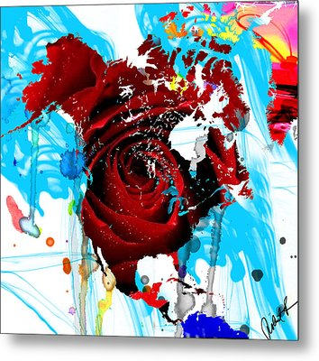 48x46 Beautiful World - Rose Red Signed Art Abstract Paintings Modern  Www.splashyartist.com Metal Print