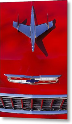 1955 Chevrolet Belair Nomad Hood Ornament Metal Print