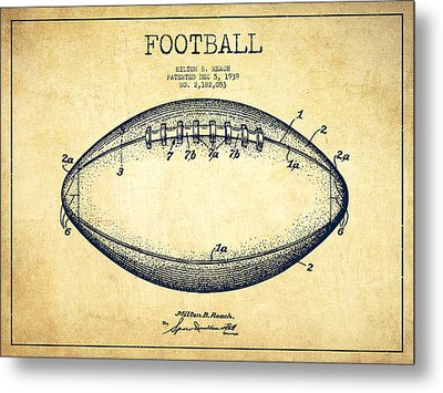 American Football Patent Drawing From 1939 Metal Print