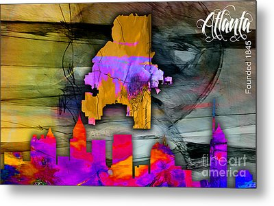 Atlanta Map And Skyline Watercolor Metal Print by Marvin Blaine