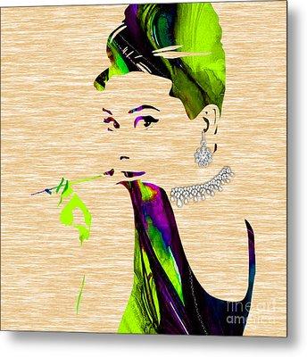 Audrey Hepburn Diamond Collection Metal Print
