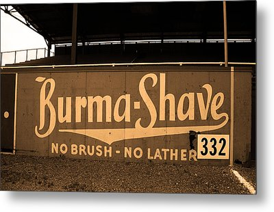 Baseball Field Burma Shave Sign Metal Print by Frank Romeo