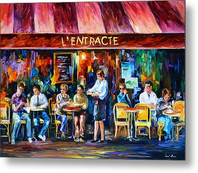 Cafe In Paris Metal Print by Leonid Afremov