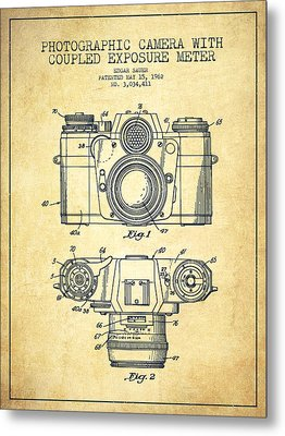 Camera Patent Drawing From 1962 Metal Print by Aged Pixel