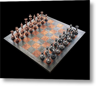 Chess Board And Pieces Metal Print by Ktsdesign