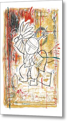 Chinese Folk Stylised Pop Art Drawing Poster Metal Print