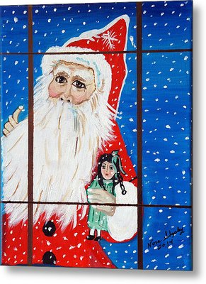 Metal Print featuring the painting Christmas Card by Nora Shepley