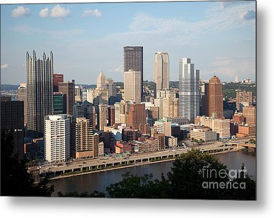 Downtown Skyline Of Pittsburgh Pennsylvania Metal Print by Bill Cobb
