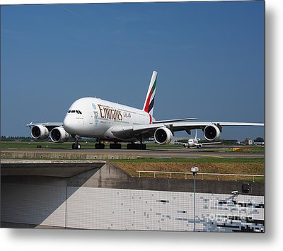 Emirates Airbus A380 Metal Print by Paul Fearn